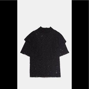 New Zara ruffled lace shirt size small